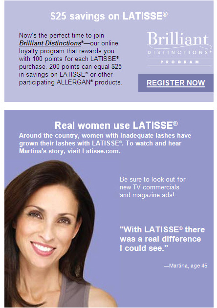 Register to recieve $25 off Latisse & more from Allergan