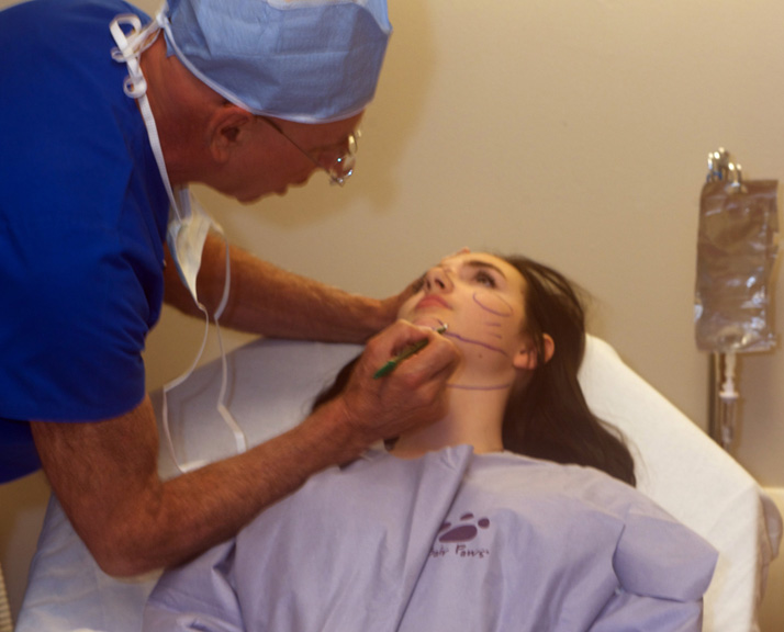 Ashley Lohan being prepped for surgery by Dr. Franklin Rose