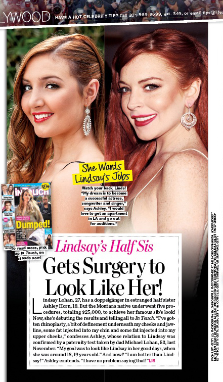 Lindsay Lohan's sister plastic surgery as seen in Life & Style magazine