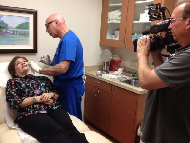 Dr. Rose and camera crew filming BOTCHED plastic surgery repair for channel 2