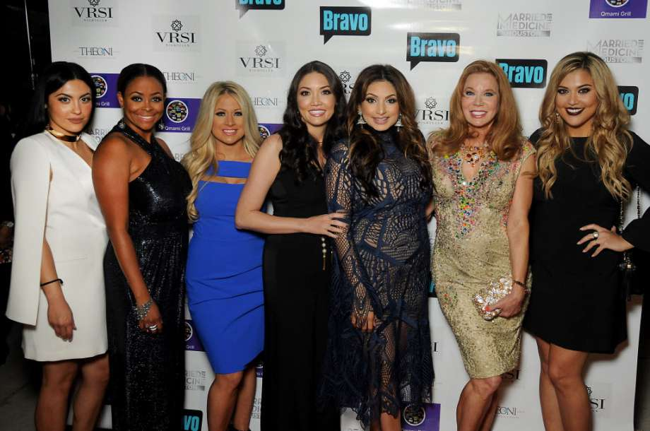 """From left: Pegah Pourasef, Dr. Ashandra Batiste, Rachel Suliburk, Dr. Erika Sato, Dr. Monica Patel, Cindi Rose and Dr. Elly Pourasef at the """"Married to Medicine Houston"""" premier party at VrSi on Thursday. Photo: Dave Rossman, For The Chronicle"""