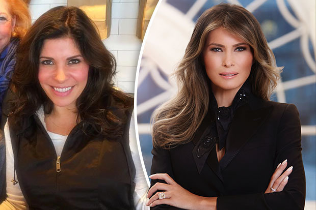 MELANIA MAKEOVER: Claudia Sierra, left, and the First Lady, right